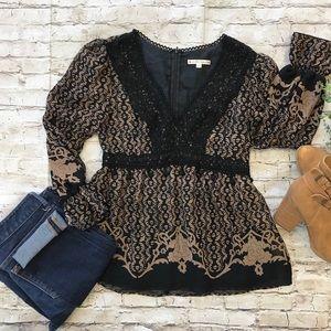 NANETTE LEPORE Women's Brown Black Blouse SZ 4